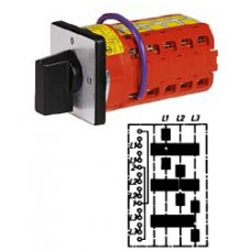 """Арт. 142121 Переключатель кулачковый для амперметров без положения """"0"""" Тип MT03, контактных отсеков - 5, 25A/690V IP54, код заказа V2N MT03-F1-B-SI"""