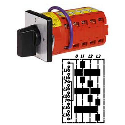 """Арт. 146358 Переключатель кулачковый для амперметров с положением """"0"""". Тип MT3., контактных отсеков - 5, 32A/690V IP54, код заказа V3N MT3-F3-B-SI"""