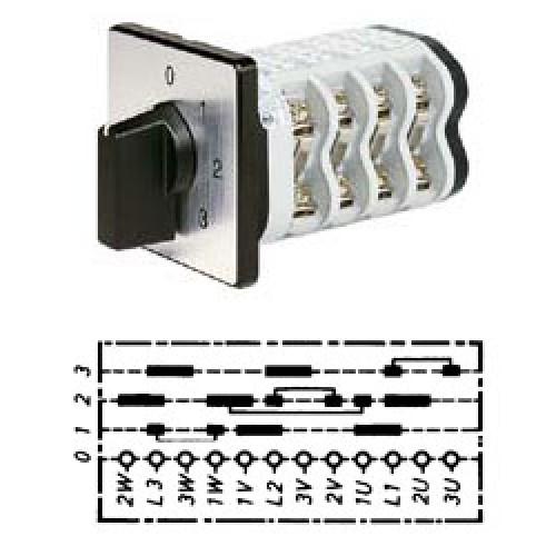 Арт. 142103 Кулачковый переключатель полярности для 3-х скоростей. Тип P3I., контактных отсеков - 6, 25A/690V IP54, код заказа V2N P3I-F1-B-SI