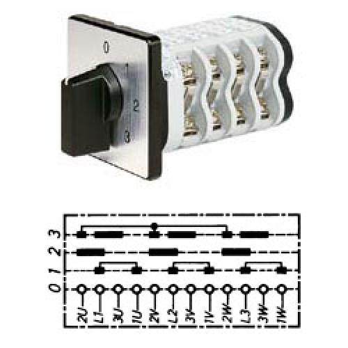 Арт. 142109 Кулачковый переключатель полярности для 3-х скоростей. Тип P3III., контактных отсеков - 6, 25A/690V IP54, код заказа V2N P3III-F1-B-SI