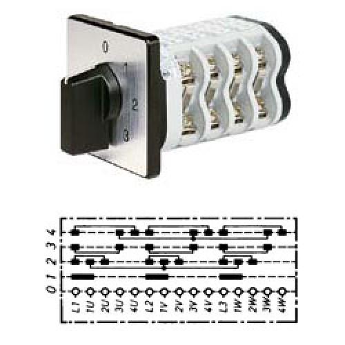 Арт. 142112 Кулачковый переключатель полярности для 4-х скоростей. Тип P4I., контактных отсеков - 8, 25A/690V IP54, код заказа V2N P4I-F1-B-SI