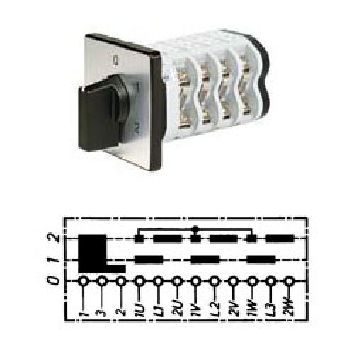 Арт. 141799 Кулачковый переключатель полярности для 2-х скоростей вращения с J-контактом. Тип PIJ., контактных отсеков - 5, 25A/690V IP54, код заказа V2N PIJ-F1-B-SI