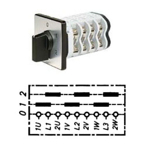 Арт. 141805 Кулачковый переключатель полярности для 2-х скоростей вращения. Тип PPI., контактных отсеков - 3, 25A/690V IP54, код заказа V2N PPI-F1-B-SI
