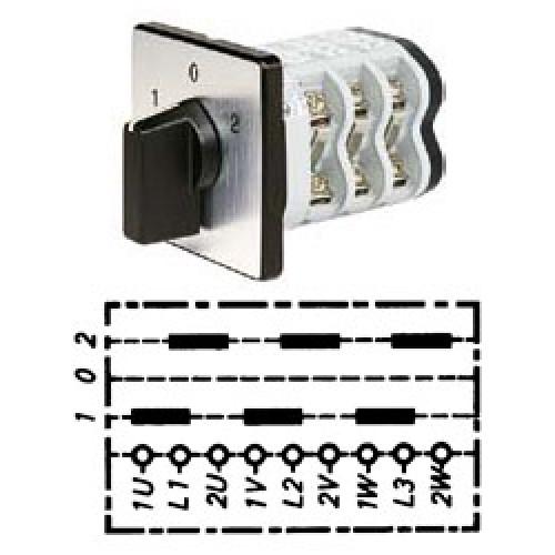 Арт. 141808 Кулачковый переключатель полярности для 2-х скоростей вращения. Тип PPII, контактных отсеков - 3, 25A/690V IP54, код заказа V2N PPII-F1-B-SI