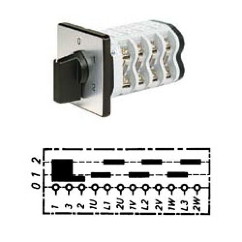 Арт. 146315 Кулачковый переключатель полярности для 2-х скоростей вращения с J-контактом. Тип PPIJ., контактных отсеков - 4, 32A/690V IP54, код заказа V3N PPIJ-F3-B-SI