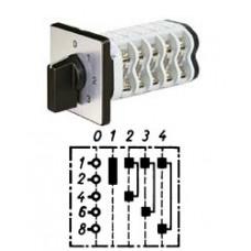 """Арт. 146367 Однополюсный четырехступенчатый кулачковый выключатель с положением """"0"""". Тип S04, контактных отсеков - 2, 32A/690V IP54, код заказа V3N S04-F3-B-SI"""