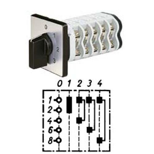 """Арт. 141881 Однополюсный четырехступенчатый кулачковый выключатель с положением """"0"""". Тип S04, контактных отсеков - 2, 25A/690V IP54, код заказа V2N S04-F1-B-SI"""
