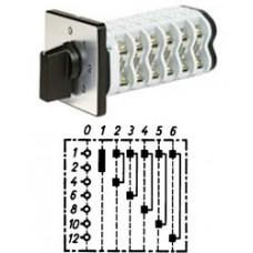 """Арт. 141887 Однополюсный шестиступенчатый кулачковый выключатель с положением """"0"""". Тип S06, контактных отсеков - 3, 25A/690V IP54, код заказа V2N S06-F1-B-SI"""