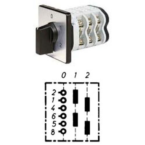 """Арт. 146382 Двухполюсный двухступенчатый кулачковый выключатель с положением """"0"""". Тип S202, контактных отсеков - 2, 32A/690V IP54, код заказа V3N S202-F3-B-SI"""