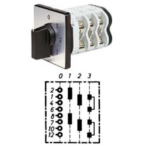 """Арт. 141899 Двухполюсный трехступенчатый кулачковый выключатель с положением """"0"""". Тип S203, контактных отсеков - 3, 25A/690V IP54, код заказа V2N S203-F1-B-SI"""