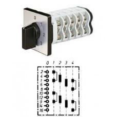 """Арт. 141987 Двухполюсный четырехступенчатый кулачковый выключатель с положением """"0"""". Тип S204, контактных отсеков - 4, 25A/400V IP54, код заказа V2N S204-F1-B-SI"""