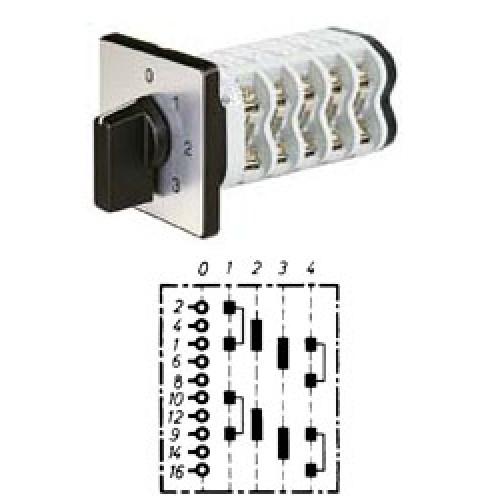 """Арт. 141987 Двухполюсный четырехступенчатый кулачковый выключатель с положением """"0"""". Тип S204, контактных отсеков - 4, 25A/690V IP54, код заказа V2N S204-F1-B-SI"""