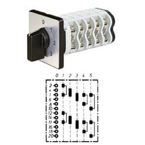 """Арт. 142138 Двухполюсный пятиступенчатый кулачковый выключатель с положением """"0"""". Тип S205, контактных отсеков - 5, 25A/690V IP54, код заказа V2N S205-F1-B-SI"""
