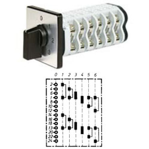 """Арт. 142141 Двухполюсный шестиступенчатый кулачковый выключатель с положением """"0"""". Тип S206, контактных отсеков - 6, 25A/690V IP54, код заказа V2N S206-F1-B-SI"""