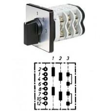 """Арт. 150352 Двухполюсный трехступенчатый кулачковый выключатель без положения """"0"""". Тип S23, контактных отсеков - 3, 63A/690V IP54, код заказа VN S23 50-F4-B-SI"""