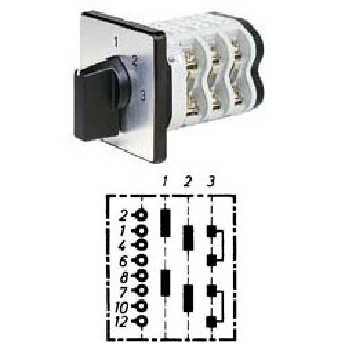 """Арт. 146388 Двухполюсный трехступенчатый кулачковый выключатель без положения """"0"""". Тип S23, контактных отсеков - 3, 32A/690V IP54, код заказа V3N S23-F3-B-SI"""
