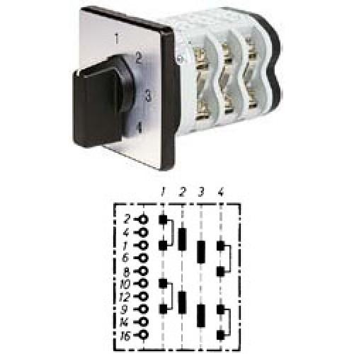 """Арт. 142145 Двухполюсный четырехступенчатый кулачковый выключатель без положения """"0"""". Тип S24, контактных отсеков - 4, 25A/690V IP54, код заказа V2N S24-F1-B-SI"""