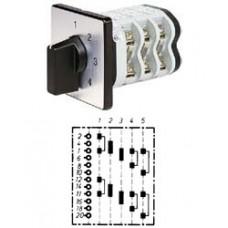 """Арт. 150354 Двухполюсный пятиступенчатый кулачковый выключатель без положения """"0"""". Тип S25, контактных отсеков - 5, 63A/690V IP54, код заказа VN S25 50-F4-B-SI"""