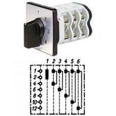 """Арт. 148403 Двухполюсный шестиступенчатый кулачковый выключатель без положения """"0"""". Тип S26, контактных отсеков - 6, 50A/690V IP54, код заказа VN S26 32-F3-B-SI"""