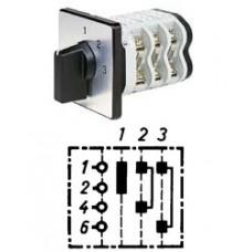 """Арт. 146400 Однополюсный трехступенчатый кулачковый выключатель без положения """"0"""".. Тип S3, контактных отсеков - 2, 32A/690V IP54, код заказа V3N S3-F3-B-SI"""