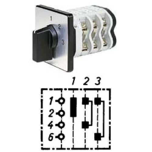 """Арт. 141914 Однополюсный трехступенчатый кулачковый выключатель без положения """"0"""".. Тип S3, контактных отсеков - 2, 25A/690V IP54, код заказа V2N S3-F1-B-SI"""