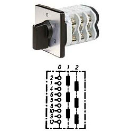 """Арт. 141905 Трехполюсный двухступенчатый кулачковый выключатель с положением """"0"""". Тип S302, контактных отсеков - 3, 25A/690V IP54, код заказа V2N S302-F1-B-SI"""