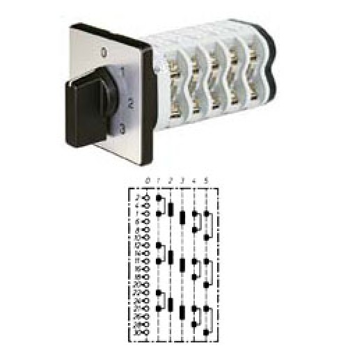 """Арт. 142157 Трехполюсный пятиступенчатый кулачковый выключатель с положением """"0"""". Тип S305, контактных отсеков - 8, 25A/690V IP54, код заказа V2N S305-F1-B-SI"""