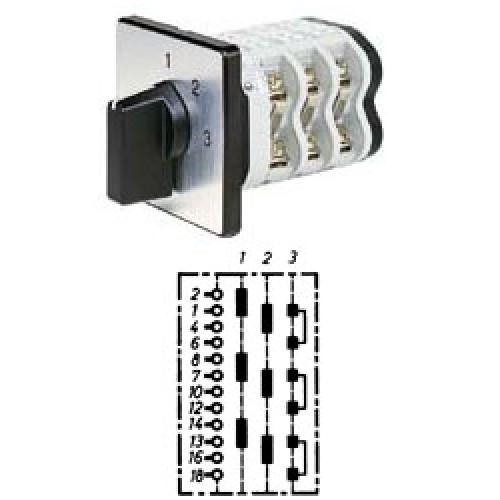 """Арт. 141911 Трехполюсный трехступенчатый кулачковый выключатель без положения """"0"""". Тип S33, контактных отсеков - 5, 25A/690V IP54, код заказа V2N S33-F1-B-SI"""