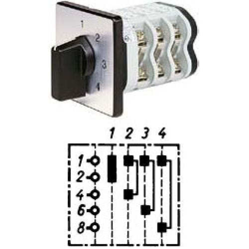 """Арт. 141917 Однополюсный трехступенчатый кулачковый выключатель без положения """"0"""".. Тип S4, контактных отсеков - 2, 25A/690V IP54, код заказа V2N S4-F1-B-SI"""