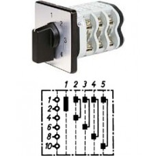 """Арт. 146406 Однополюсный пятиступенчатый кулачковый выключатель без положения """"0"""".. Тип S5, контактных отсеков - 3, 32A/690V IP54, код заказа V3N S5-F3-B-SI"""