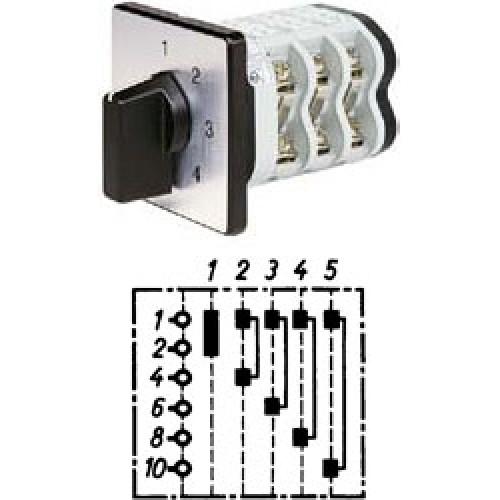 """Арт. 141920 Однополюсный пятиступенчатый кулачковый выключатель без положения """"0"""".. Тип S5, контактных отсеков - 3, 25A/690V IP54, код заказа V2N S5-F1-B-SI"""