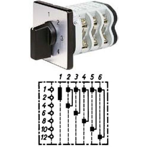 """Арт. 141923 Однополюсный шестиступенчатый кулачковый выключатель без положения """"0"""".. Тип S6, контактных отсеков - 3, 25A/690V IP54, код заказа V2N S6-F1-B-SI"""