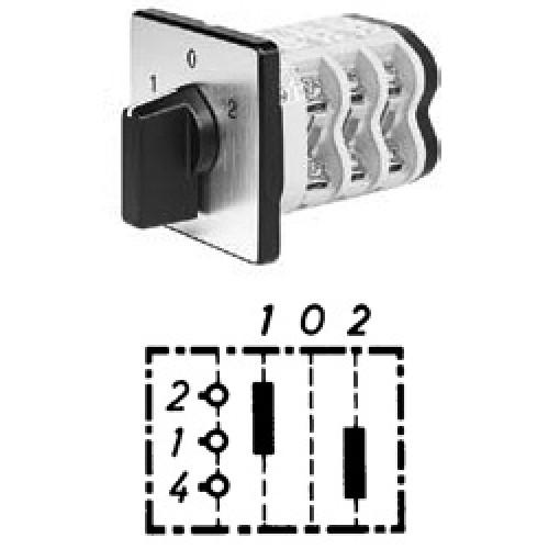 """Арт. 141814 Однополюсные кулачковые переключатели с положением """"0"""". Тип U1., контактных отсеков - 1, 25A/690V IP54, код заказа V2N U1-F1-B-SI"""