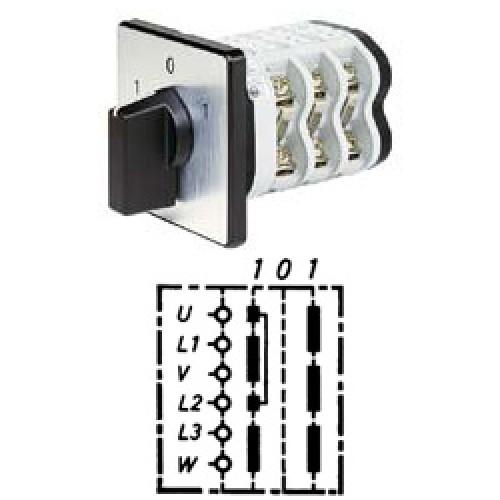 Арт. 141775 Кулачковый переключатель полярности трехполюсный. Тип W., контактных отсеков - 3, 25A/690V IP54, код заказа V2N W-F1-B-SI