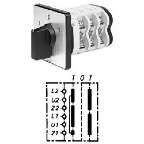 Арт. 148368 Однофазный реверсивный кулачковый выключатель для моторов с конденсатором или центробежным, контактных отсеков - 3, 50A/690V IP54, код заказа VN WE4 32-F3-B-SI