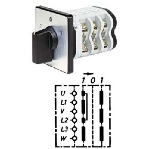 """Арт. 141778 Кулачковый переключатель полярности трехполюсный с односторонним возвратом на """"0"""". Тип WR, контактных отсеков - 3, 25A/690V IP54, код заказа V2N WR-F1-B-SI"""