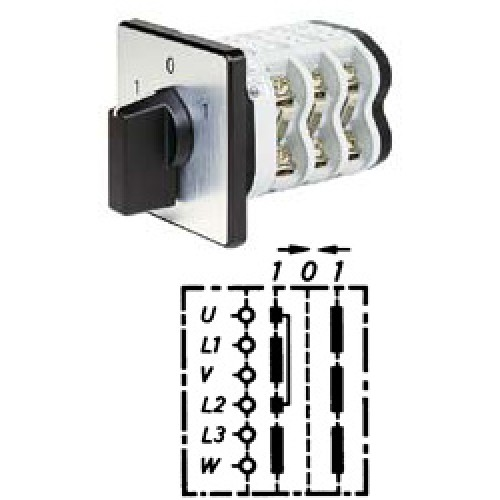"""Арт. 146282 Кулачковый переключатель полярности трехполюсный с двухсторонним возвратом на """"0"""". Тип WR2, контактных отсеков - 3, 32A/690V IP54, код заказа V3N WR2-F3-B-SI"""
