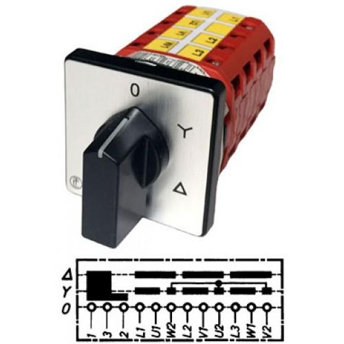 Арт. 146288 Кулачковый переключатель звезда - треугольник с J-контактом для управления контрактором. Тип YJ, контактных отсеков - 5, 32A/690V IP54, код заказа V3N YJ-F3-B-SI
