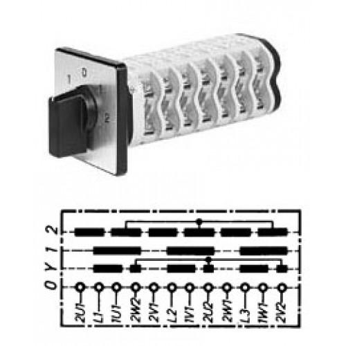 Арт. 141099 Пусковой кулачковый переключатель полярности для 2-х скоростей вращения. Тип YP., контактных отсеков - 6, 25A/690V IP54, код заказа V2N YP-F1-B-SI