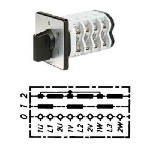 Арт. 141793 Кулачковый переключатель полярности для 2-х скоростей вращения. Тип PI., контактных отсеков - 4, 25A/690V IP54, код заказа V2N PI-F1-B-SI