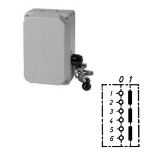 Арт. 151054 Трехполюсный выключатель в металлическом корпусе с гнездом предохранителя и запорным устройством (замки с любой стороны), 45A/690V IP65, код заказа V3LAGSNK/3S