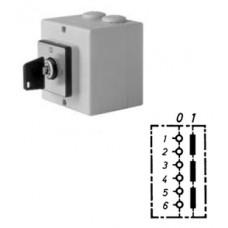 Арт. 31991144 Трехполюсный выключатель в пластиковом корпусе, переключение ключом (замок Euro-Lock), 25A/400V IP65, код заказа D1 01/HS-T24/2-ZE-MXI