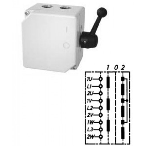 """Арт. 46466 Моторный переключатель полярности для 2-х скоростей, последовательность включения """"I-0-II"""", 45A/690V IP65, код заказа TPIIG 32"""