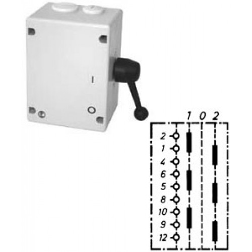 """Арт. 46511 Моторный переключатель для 2-х цепей трехполюсный с положением """"0"""", 45A/690V IP65, код заказа TUT 32"""
