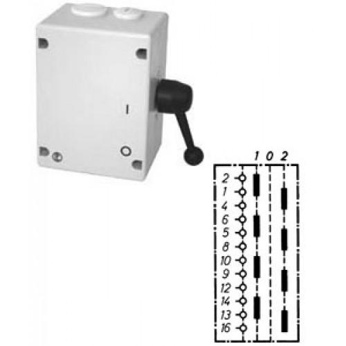 """Арт. 46517 Моторный переключатель для 2-х цепей четырехполюсный с положением """"0"""", 25A/690V IP65, код заказа TU4T 16"""