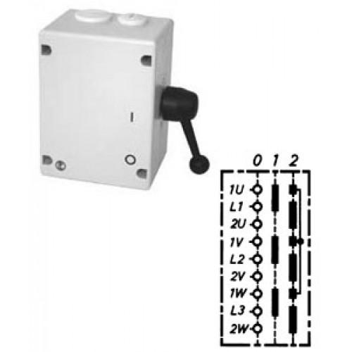 """Арт. 46509 Моторный переключатель полярности для 2-х скоростей, последовательность включения """"0-I-II"""", 25A/690V IP65, код заказа TPIT 16"""