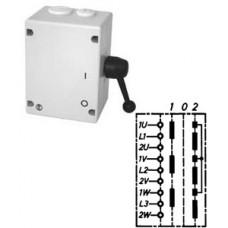 """Арт. 46532 Моторный переключатель полярности для 2-х скоростей, последовательность включения """"I-0-II"""", 25A/400V IP65, код заказа TPIIT 16"""