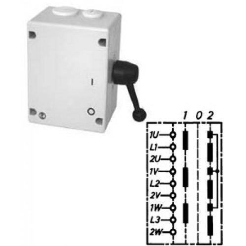 """Арт. 46532 Моторный переключатель полярности для 2-х скоростей, последовательность включения """"I-0-II"""", 25A/690V IP65, код заказа TPIIT 16"""