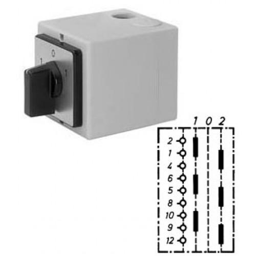 """Арт. 143026 Моторный переключатель для 2-х цепей трехполюсный с положением """"0"""", 25A/690V IP65, код заказа UT 25"""