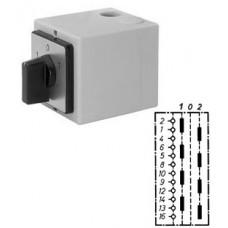 """Арт. 143024 Моторный переключатель для 2-х цепей четырехполюсный с положением """"0"""", 25A/400V IP65, код заказа U4T 25"""